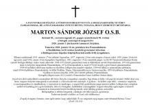 Marton József atya gyászjelentése